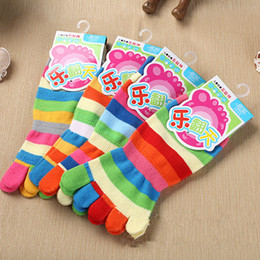 Wholesale Girls Socks Years Old - Wholesale-New Random Color!! Spring Rainbow Colorful Stripes Children's Warm Cotton Five Fingers Toe Socks For 4-8 Years Old Girls & Boys