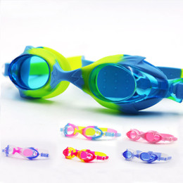 Wholesale boys diving - Outdoor Children Swimming Goggles Anti Fog High Definition Colorful Silicone Eyeglasses Boys Girls Kids Diving Swim Glasses Practical 8ms YY