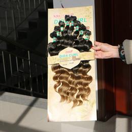 Pack vague de corps en Ligne-14-20 pouces Extensions de cheveux synthétiques Weave Curly Weave dans l'armure de cheveux 8pcs / Pack de lâche Weaves Deep Wave cheveux bouclés Trame naturelle noir T1B / 30/27