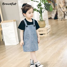 2020 vestido de niña de blue jeans New Blue Jeans Dress Kids Baby Girls Denim One Picece Princess Dress Niños Sin Mangas Verano Ropa Casual Niños Vestidos rebajas vestido de niña de blue jeans