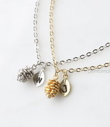 Wholesale pine cone charms - whole sale10pcs Famous Pine Cone Necklace Initial Pendant Dainty Necklace Dainty Charm Everyday Jewelry Christmas Gift Wedding Gift