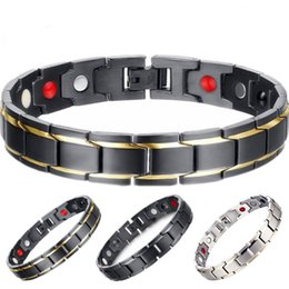 Wholesale 316l stainless steel magnetic clasp - Healthy Magnetic Bracelet For Women Power Germanium Magnets Bracelets Bangles For Men 316L Stainless Steel Magnetic Therapy Bracelet