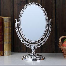 mesas laterais espelhadas atacado Desconto O dobro tomou partido do suporte livre cosmético da tabela do banho do espelho de rapagem