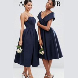 Wholesale Satin Short Straps Bridesmaid Dresses - Navy Blue Satin Short Bridesmaid Dresses Spaghetti Straps Off Shoulder Ruffles Tea Length Party Dresses Bridesmaid Gowns For Wedding