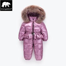 2019 девушки гусиные пуховики Orangemom winter Jumpsuit big real fur outerwear , warm winter jackets girls clothes . 90%  down russian coats boy скидка девушки гусиные пуховики