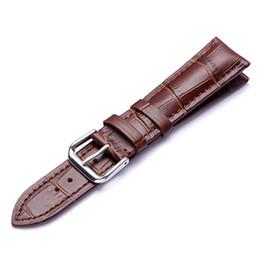 2019 correa de reloj de 14mm Correas de reloj marrón negro Correa de cuero genuino Correa de hebilla de acero inoxidable Correa de reloj Correa de cuero 14mm 16mm 18mm 20mm 22mm correa de reloj de 14mm baratos