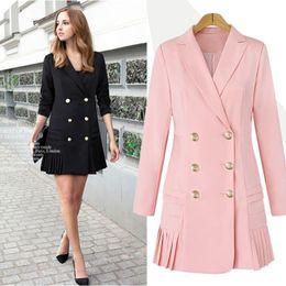 04120abe3e8a8 Double Breasted Women Blazers and Jackets 2017 Autumn Pleated Long Suit Coat  Women Outwear Blazer Feminino Plus Size E0221 S18101304
