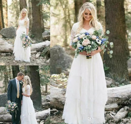 Wholesale Forest Sleeves - 2017 Cheap Western Country Bohemian Forest Wedding Dresses Lace Chiffon V Neck Boho Garden Bridal Gown Custom Made Plus Size