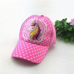 Wholesale Cap Unicorn - INS Kids Unicorn Baseball Cap Snapback Cartoon Adjustable Sun Cap Hip hop New Lovely Summer Hats