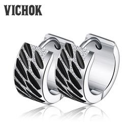 Wholesale Trendy Earrings For Girls - Steel-color Stainless Steel Earrings for Women Girls Party aros mujer oreja Fashion Jewelry circle earrings 14mm*7mm New Trendy VICHOK