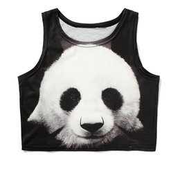 Ropa de panda de chicas lindas online-2018 Summer Crop Top Shirt Mujeres Kawaii Animal Camisetas sin mangas Panda Elephant Deer Clothing Cute Girl sin mangas recortadas Tanktop