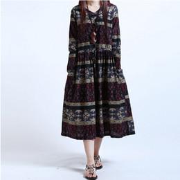 Wholesale Women S Midi Dresses - Autumn spring Vintage dress for women Loose Floral print Cotton linen Casual V neck dress Twon colors