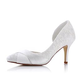 Wholesale White Pointy Toe Pumps - Amazing Pointy toe Megan's style ivory colour lace simply elegant wedding women bridal handmade shoes for follwer girls and bridemain