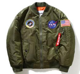 NASA Homens MA1 Casacos Bomber Primavera Outono Casaco Piloto de Vôo Casaco de Beisebol Bordado Casacos de Fornecedores de jaquetas de militare aeronáutica