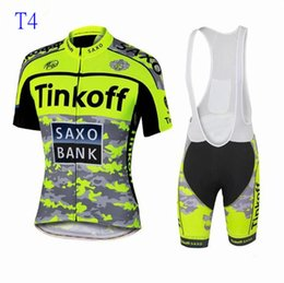 Wholesale Gold Red Suit Spandex - 2018 new tour de france cycling jerseys Bike Suit cycling jersey Tinkoff saxo 9 colors cycling jersey +short Bib Pants sets