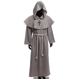 Wholesale Man S Robe - Medieval Friar Costume Vintage Renaissance Priest Monk Cowl Robes Cosplay Outfits with Cross Necklace for Adult Men Gifts