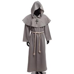 renaissance kostüme männer Rabatt Mittelalterliche Mönch Kostüm Vintage Renaissance Priester Mönch Kutte Roben Cosplay Outfits mit Kreuz Halskette für Erwachsene Männer Geschenke