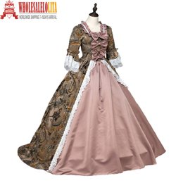 2019 ropa renacentista Alta calidad Southern Belle Renacimiento georgiano Marie Antoinette Colonial Brocade vestido período vestido de bola Steampunk ropa renacentista baratos