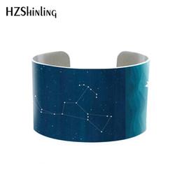 Zodíaco Constelação Sagitário Aries Orion Libra Câncer Cuff Bracelet Bangle Jóias Galáxia Pulseira Estrela Astrologia de