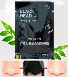 Máscara de membrana negra online-10pcs Mineral Mud Nose Black Mask Blackhead eliminación tiras de poros limpiador membrana cara facial máscara