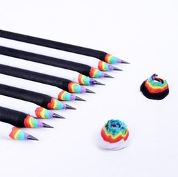 caixas de lápis coloridas por atacado Desconto 2B Rainbow Lápis Criativo Crianças Lápis De Madeira Papelaria Estudante Material de Escritório Preto Lápis Branco CCA9547 500 pcs