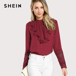 3a213f370c SHEIN Burgundy Elegant Ruffle Pleated Contrast Lace Button Stand Collar  Long Sleeve Blouse Summer Women Workwear Shirt Top