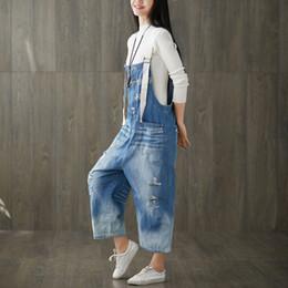40803f2408bd Korean Fashion Plus Size Cotton Denim Jumpsuit Overalls for Women  Combinaison Femme Pants Trousers Holes High Waist Jeans Woman