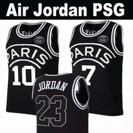 brand new 64355 19370 basketball jersey short black Promo Codes - New 2019 PSG Paris Jersey 23  Michael JD 10