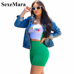 8e20202b51e7 SexeMara Letter Print Sexy Two Piece Set Crop Top and Short Pants Summer 2 Piece  Outfits for Women Club Matching Sets D43-AZ16