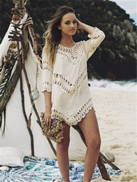 Wholesale White Crochet Swim Suit - Sexy White Girls Beach bikini Dress Swim Suit Beachwear Swimwear Women Beach Cover Up Black Swimsuit Hollow Crochet Ladies Tunic praia