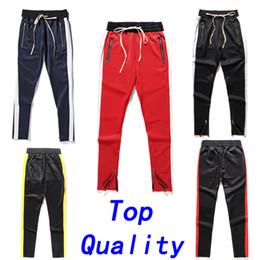 Wholesale Hip Hop Track Pants - New joggers pants Mens Fifth Season FOG Fear Of God Justin Bieber side zipper sweatpants Hip Hop Jogger Fifth Collection FOG track pants