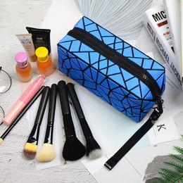 Wholesale Folding Makeup Case - 2018 New Geometric Zipper Cosmetic Bag Women Luminous Makeup Bag Ladies Cosmetics Organizer Folding Travel Make Up Bag wholesale