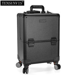 Wholesale Trolley Case Cosmetics - TENSUNVIS Professional Rolling Makeup Case Cosmetic Train Box Trolley black