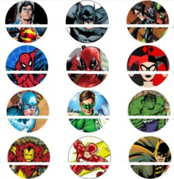 Wholesale glass for pictures - 50pcs Superhero cartoon glass Snap button Charm Popper for Snap Jewelry good quality picture pendant