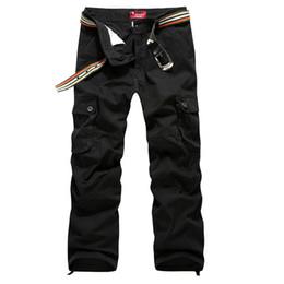 2019 pantalones cargo marrón Pantalones de carga para hombres Pantalón militar 100% algodón Caqui / Verde / Marrón / Negro Pantalones largos de talla grande 30-44 pantalones cargo marrón baratos