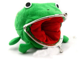 Peluche soldi online-Naruto Cute Green Frog Coin Bag Cosplay Props Plush Toy Purse Wallet Funny Gift Sundries Money Bag