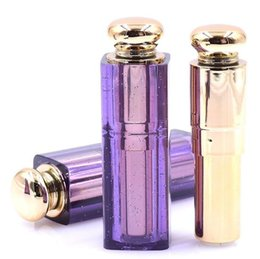 Wholesale Homemade Packaging - Empty Lipstick Tubes purple Transparent Homemade DIY Lipstick Packaging Materials 9mm Diameter fast shipping SN1220