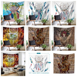 Wholesale woven table mats - Dreamcatcher Tapestry Beach Shawl Polyester Print Pashmina Wall Hanging Throw Bohemian Door Curtain Home Decor Table Cloth Yoga Mat AAA463