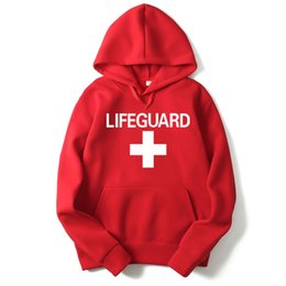 Rote hoodie-designs online-RUMEIAI Mens Hoodies Sweatshirts Lifeguard Print Design Schwarz / Grau / Rot Männer Frauen Hoodies Lässige Hip Hop Mit Kapuze Markenkleidung