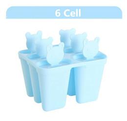 Caricaturas de helado de verano online-Verano creativo 6 Rejillas de hielo congelado moldes de paletas de hielo de dibujos animados diseño de oso lindo Fabricante de paletas de hielo herramientas de helados DIY Envío gratis