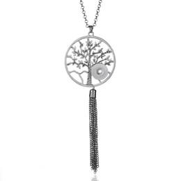 Árbol de la vida Collar de borla Collar largo colgante a presión de plata con cadenas de 60 cm aptos 18mm Collar con botón a presión Joyería WS94 desde fabricantes