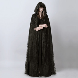 Wholesale Witch Cape Black - Wholesale- Steampunk Gothic Black Long Lace Hooded Cloak Cape for Women Dark Halloween Wizard Costume Full Length Witch Trench