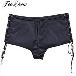 Wholesale Wholesale Clubwear For Women - Black Women Low Waist Lace Up Performance Hot Shorts Clubwear for Party Dance Club Women's Patent Leather Slim Cut Hot Shorts