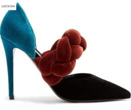 Dicke samtfersen online-2018 Neue Frauen Samt High Heels dünne Ferse Mischung Farbe Pumpen Party Schuhe dünne Ferse Punkt Zehe Pumpen Kleid Schuhe dicke Seile Schuhe
