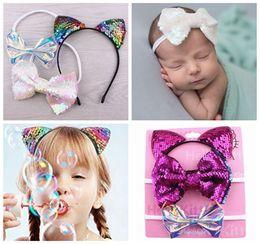 d1245d5b5c1 2018 cute hair accessories for children cat ears hairbands sequin hair bows  shiny bowknot headbands baby girls christmas head bands 3pcs set
