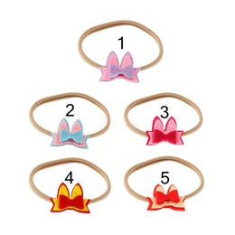 Wholesale Brown Hair Bows - INS Newest Baby Rabbit Ear Nylon Headbands Bowknot Bunny Hair Accessories Girls Boutique Cute Hairwrap Hair Bow B11