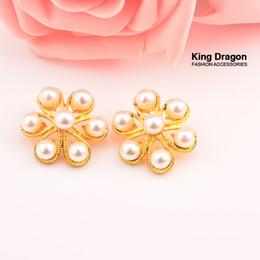 Argentina Botones de perlas brillantes con vástago Botón de decoración de botón de bricolaje 40pcs / lot 25MM KC Gold Color Suministro