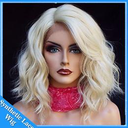 Argentina Pelucas de pelo sintético rizado corto rubio para las mujeres negras 613 # pelucas delanteras del cordón peluca de Bob 12 pulgadas suelta parte del lado de la onda rizada cheap 613 curly wig Suministro