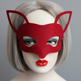 Wholesale Sexy Fox Cosplay - New Halloween Xmas Woman Sexy Fox Felt Mask Vintage Black Face Mask Fashion Cosplay Party Custome Accessories