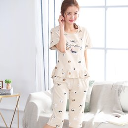 4aa2e2b3d7 Pajamas Sets summer Temptation Carton Women short sleeved tops Middle pants Sleepwear  Suit 2 Piece Sexy Home wear Woman Gift
